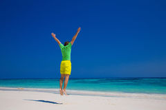 Human. Freedom Beach Summer Holiday Concept. Handsome young man Royalty Free Stock Photo