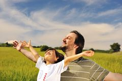Human freedom, happiness in nature Stock Image