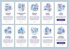Free Human Freedoms And Privacy Onboarding Mobile App Page Screen With Concepts Set Royalty Free Stock Photos - 193039808