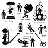 Human Future Technology Science Fiction Icon Cliparts. A set of human pictogram representing demolition worker smashing wall with hammer, destroying house with Royalty Free Stock Image