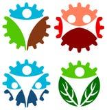 Human gear. Illustrated isolated human gear logo design set Stock Photos
