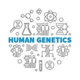 Human Genetics vector round concept outline illustration. Human Genetics vector round concept illustration in outline style stock illustration