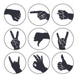 Human gestures. Icons. People hand signs. Man hands outline isolated on white background. Ok, thumb up, thumb down, fig, victory, pointing finger, sign of the Royalty Free Stock Photo