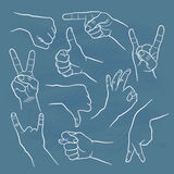 Human gestures. Icons. People hand signs. Man hands outline isolated on white background. Ok, thumb up, thumb down, fig, victory, pointing finger, sign of the vector illustration