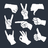 Human gestures. Icons. People hand signs. Man hands outline white on black. Ok, thumb up, thumb down, fig, victory, pointing finger, sign of the horns Royalty Free Stock Image