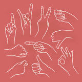 Human gestures. Icons. Woman hand outline isolated on white background. People hand signs. Ok, thumb up, thumb down, fig, victory, pointing finger, sign of the Royalty Free Stock Photo