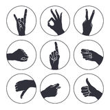 Human gestures. Icons. Woman hand outline isolated on white background. People hand signs. Ok, thumb up, thumb down, fig, victory, pointing finger, sign of the Royalty Free Stock Photos