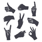 Human gestures. Icons. Woman hand outline isolated on white background. People hand signs. Ok, thumb up, thumb down, fig, victory, pointing finger, sign of the Royalty Free Stock Image