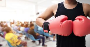 Human hand with glove punch royalty free stock image