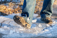 Human goes on ice area Stock Photography