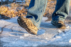 Human goes on ice area Stock Image