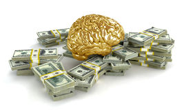 Human gold brain big stacks of dollars. Isolated on white. Concept 3d render, illustration Royalty Free Stock Photo