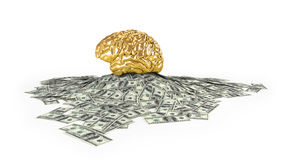 Human gold brain whith Heap of Dollar Bills. Isolated on white background.Concept 3d render, illustration Royalty Free Stock Photography