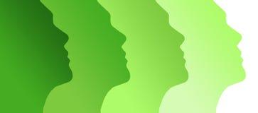 Human green profiles Stock Photos