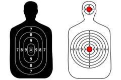 Human gun target on white background.  Stock Photos