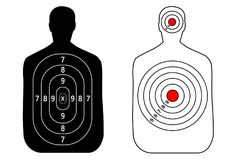 Human gun target on white background. Silhouette of a man. Target shooting, vector, set Stock Images