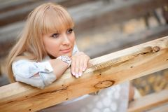 Human Hair Color, Blond, Girl, Wood royalty free stock photo