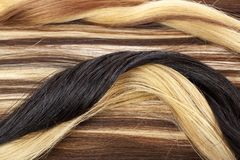 Human hair european hair weft for hair extension. Brown blonde hair texture closeup pattern. Royalty Free Stock Photo