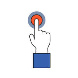 Human hand on alert or alarm signal. Hand and finger icon. Pointing finger on red button. Human hand on alert or alarm signal. Hand and finger icon. Signal Stock Image