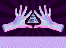 Human hand and all-seeing eye. Surreal illustration for your magic design. Collage of contemporary art. royalty free stock photos