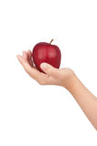 Human hand with apple. Isolate on whit background Royalty Free Stock Photos