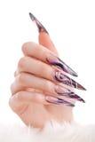 Human hand with the beautiful fingernail Stock Photos