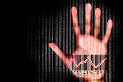 Human hand beeing scanned with barcode halogram Royalty Free Stock Images