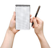 Human hand blank notepad Royalty Free Stock Photos
