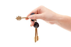 Human hand with bundle keys Royalty Free Stock Images