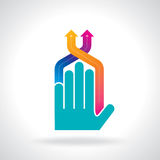 Human hand and business chart arrows Royalty Free Stock Image