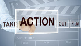 Human hand choose action. Director film hand choose  action Royalty Free Stock Photo