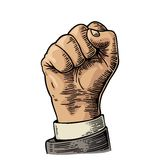 Human hand with a clenched fist. Vector black vintage engraved illustration isolated on a white background. Hand sign for web, pos royalty free illustration
