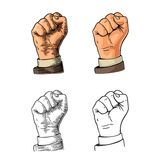 Human hand with a clenched fist. Vector black vintage engraved illustration isolated on a white background. Hand sign for web, pos stock illustration
