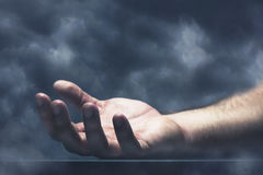 Human hand with cloud Royalty Free Stock Photos