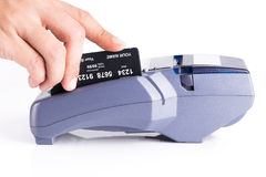Human Hand With Credit Card Machine Isolated On White Background Stock Photo