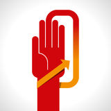 Human hand with direction arrow sign. Human hand with direction arrow Royalty Free Stock Image