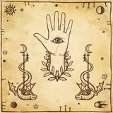 Mystical emblem human hands, Eye of Providence. Royalty Free Stock Images