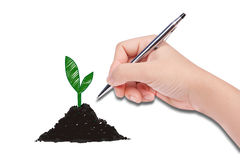Human hand drawing. A plante Stock Photo