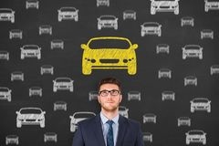 Human Hand Drawing Car Choose on Blackboard. Business working concepts royalty free stock image