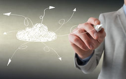 Human hand drawing cloud. Cloud concept Stock Image