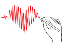 Human hand drawing a Heart pulse. Conceptual vector sketching work Royalty Free Stock Photos