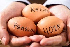 Human Hand With Egg Showing Pension And Retirement Text. Close-up Of A Human Hand With Brown Egg Showing Pension And Retirement Text stock photo