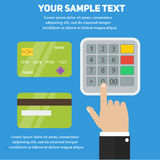Human hand entering pin code in ATM, payment terminal with bank credit cards Royalty Free Stock Photo