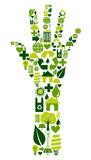 Human hand with environmental icons Royalty Free Stock Photo