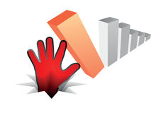Human hand fall off the chart. On white Royalty Free Stock Photography