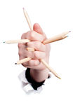 Human hand with few pencils Royalty Free Stock Image