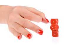 Human hand flip the dice Royalty Free Stock Image