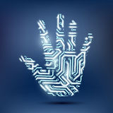 Human hand in the form of a computer chip. Vector human hand in the form of a computer chip royalty free stock photos
