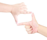 Human hand gesture of focusing sign isolated Stock Photos