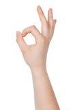 Human hand gesture shows okay Stock Image